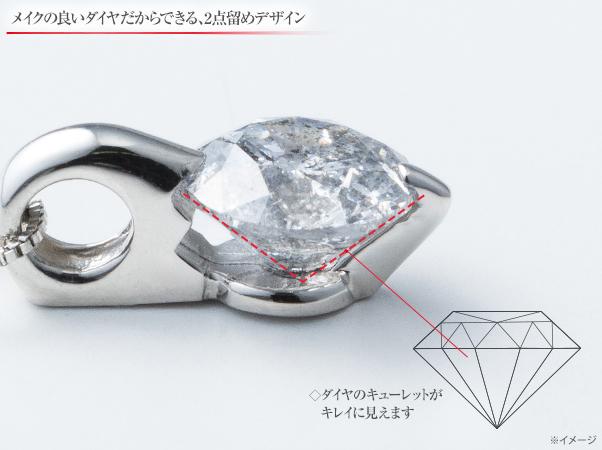 オールプラチナ1ctダイヤペンダント